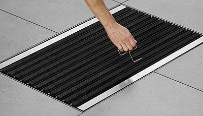 A hook is supplied to make raising the mat easier